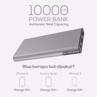 Powerbank 10000MAh Naxen Slim Metallic Real Dual USB PD88