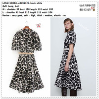 AB256121 Belt Long Dress Midi Kemeja Hitam Putih Wanita Korea Import