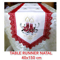 Taplak Meja Tamu Natal Christmass - Table Runner Natal Bordir Mewah
