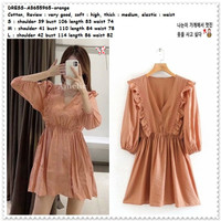 AB655965 Retro Mini Dress Pesta Wanita Korea Import Orange