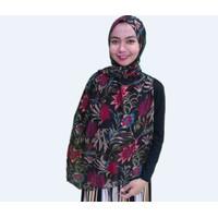 Pashmina chiffon Import New Series Motif Kerudung Hijab Chiffon flower