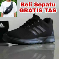 Sepatu Adidas Fullblack Bonus Tas - Hitam, 39