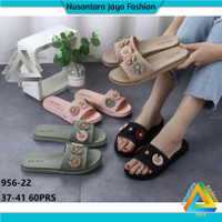 Sandal Jelly Wanita [ 956-22 ] Sandal Balance / Sandal Wedges - Mocca, 37