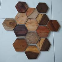 coaster kayu hexagon sisa stock kw 2