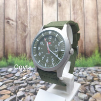 Swiss Army Analog Jam Tangan Pria Tali Canvas Hijau SA 1881G Original