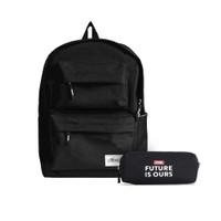 Paket Tas Ransel / Backpack & Kotak Pensil Harvest Twin Pocket Black