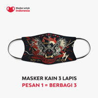 Masker untuk Indonesia x Mel Ahyar Xy - Kain Scuba Full Printing