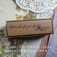 Wooden Stamp Word: Best Wishes for You rubber stamp stempel karet