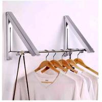 Gantungan Baju Dinding Lipat Portable Jemuran Pakaian Folding Hanger G