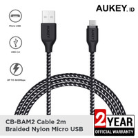 Aukey Cable CB-BAM2 2m Braided Nylon USB2.0 to Micro Black - 500426