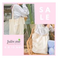 [PREMIUM] Vintage Tote Bag/Tas Bahu Wanita dengan Renda Bahan Kanvas