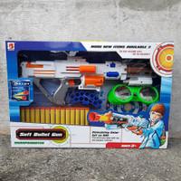 NERF GUN / TEMBAKAN NERF SOFT BULLET GUN AKSESORIS LENGKAP