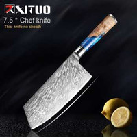 XITUO Pisau Dapur Damascus Pattern Chef Knife Cleaver 7.5 Inch - DL022