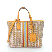 tas tory burch gemini link canvas small tote daylily