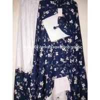 Mukena Jumbo Rayon Premium Adem Cantik Putih Navy Motif Mukena Jakarta