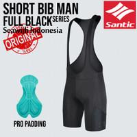 Celana Padding Sepeda Bib Santic Pro Full Black Original - M