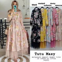 gamis tutu Maxy DRESS tile monalisa - mocca