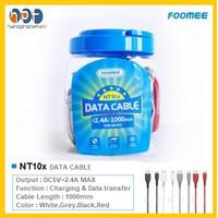 Kabel Data Foomee NT10x Kabel Bulat Micro USB 2.4A Fast Charging 100cm