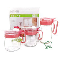 1 Set Toples Kaca Bumbu Dapur & Jar Minyak / Seasoning Bottles