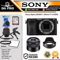 Sony Alpha A6400 + Lensa E 35MM F1.8 OSS Lens Mirrorless Camera Paket