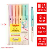 Spidol Erasable Highlighter Pastel 6 Warna Bisa Dihapus JOYKO HL-69-6