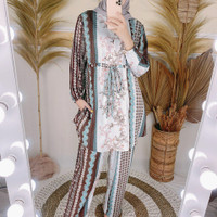 baju setelan celana wanita kekinian / Set Greta / Trendy / Terbaru - Coklat Muda