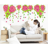 XY8131 BIG HANGING PINK FLOWER WALLSTICKER WALL STIKER 50X70 STIKER DI