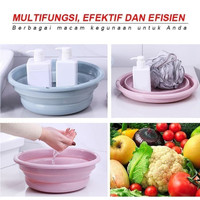 Baskom Lipat 20 cm Portable Ember Plastik Tempat Wadah Buah Sayur Cuci