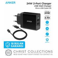 ANKER KEPALA CHARGER FAST CHARGING 24W DUAL USB + KABEL MICRO B2021 - Putih