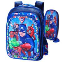 Tas Anak Sekolah SD Captain America 3D + Kotak Pensil