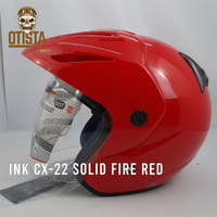 Helm Half Face Ink Cx-22 Solid Fire Red Merah Polos Glossy Gloss Metal - L