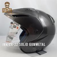 Helm Half Face Ink Cx-22 Solid Gunmetal Glossy Gloss Metalic Polos - L