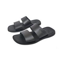 Sandal pria bahan kulit asli sandal flat model ban dua 003