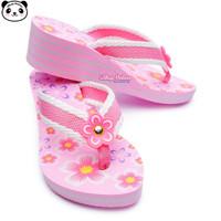 Sandal Jepit Wedges Anak Perempuan 31-36 Heels Bunga Pink Cantik