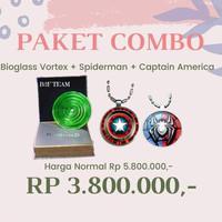 Paket Bioglass Vortex 10cm Kalung Pendant Captain America Spiderman