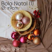 Bola Natal (1) Ø : ±9cm -XMAS -Pink -Barang Florist - Gojek Only