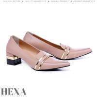 Sepatu Wanita High Heels Pesta Hak Tahu Pump 5cm Pantofel Kerja Cream