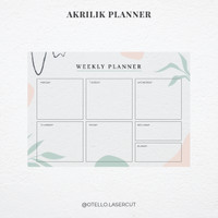 Tropical - Weekly Planner Akrilik | Wall Planner Dinding Papan Jadwal - 60 x 84 cm, Akrilik Putih