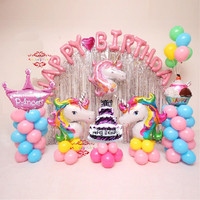 Balon Set Paket Ulang Tahun Unicorn Pony Premium - Tanpa Tirai
