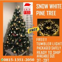 Pohon Natal Tinggi 2,7 Meter 3 M 9ft/270cm Berkualitas Free Lampu - Snow White