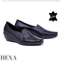 Sepatu Wanita Pantofel Kulit Asli Formal Kerja Kantor Hak 4cm Hitam