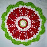 Taplak meja bundar rajut handmade natal hijau merah putih