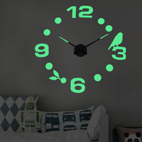 Jam Dinding Besar DIY Giant Wall Clock Quartz Glow in The Dark 80-130c