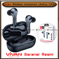 Headset Bluetooth Vivan Liberty T200 Wireless Earbuds Earphone Blue HP