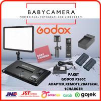 Paket Godox P260C LED Video Light P260 C 30w Panel Lampu Batt F570 kit