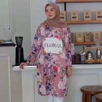 Tunik Moana Floral Stripe by Kultura Moda / tunik scuba / full