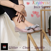 Sara Sara KEJORA jelly shoes wanita glitter transparan flat shoes pita - 36