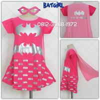 Dress Kostum Karakter Superhero SUPERGIRL BATGIRL Pink Silver 3-9 Thn