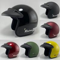 Helm Bogo Retro Model Carglos Murah Pria Wanita Motor Sni - HITAM GLOSSY