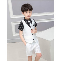 Setelan Anak Laki-Laki Vest + Kemeja +Celana Putih LBS440
